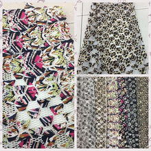 100% polyester mesh bottom leopard printing chiffon flower laser embroidery lace fabric for dress