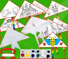 Promotional 190T DIY Kid Kites with color pen for Advertising