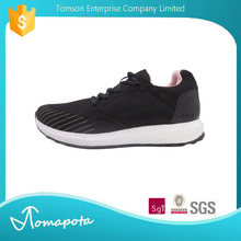 New Product modern UK Micro fiber shoelace PU Round Toe Black Women Sport Shoes