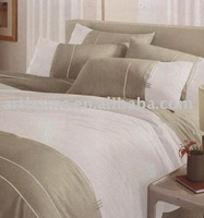 Stripe embroidery duvet cover set