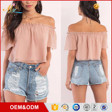 New Fashion Ladies Sexy Ruffle short sleeve Shirt Blouse Off Shoulder Crop Top