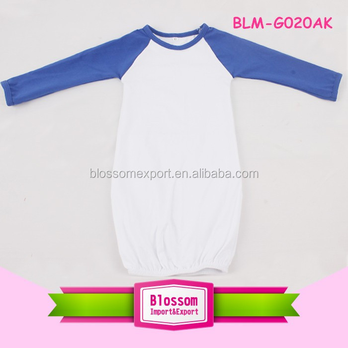 White body solid color long sleeve cotton baby gown pictures for children gown
