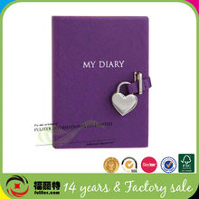 2014 charing purple pu thick beautiful diary books with lock