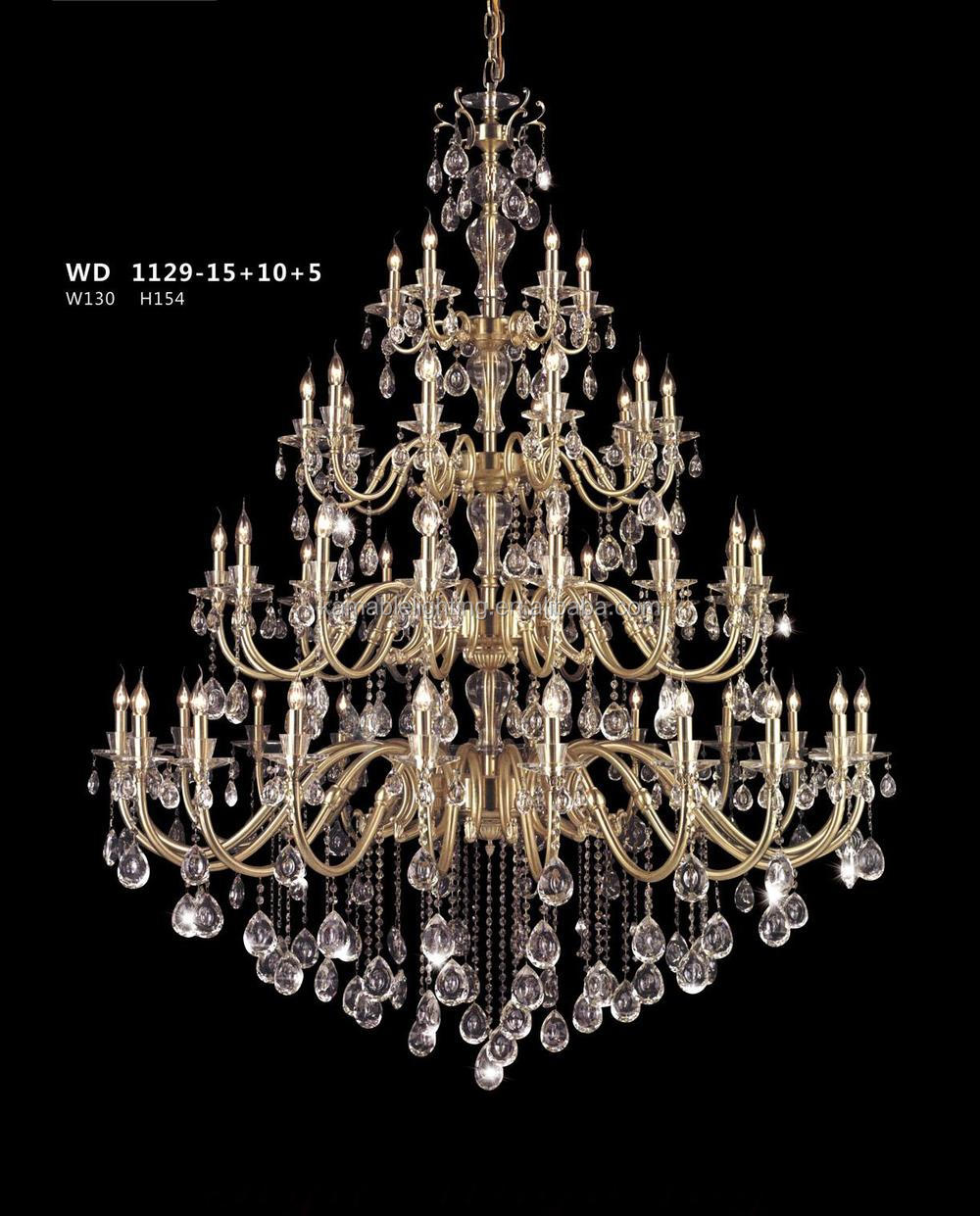 Elegance crystal drop brass chandelier project light good for villa,hotel,church