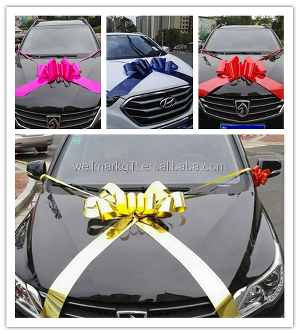 23 Inch Gold Metallic Ribbon Large Pull Car Bow