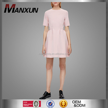 2017 Hot Sale Summer Short Sleeve Round Collar Pink Short Dress Elegant Casual Dress