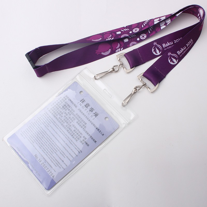 Double hook polyester id card holder lanyard with color pattern