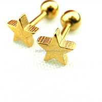 Lowest price for body piercing jewelry stars shape stainless steel ear studs