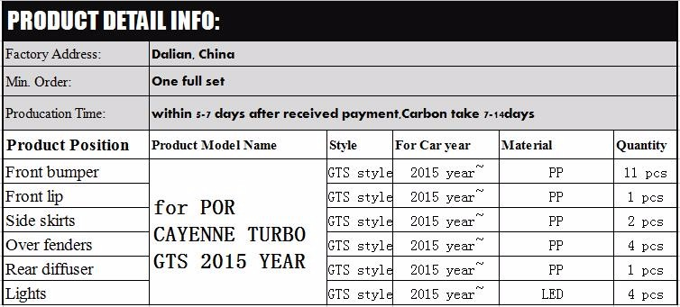 Full bumper set 2015 year style for pors cayenne -turbo-GTS 2014 year tuning