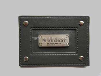 Custom leather label with metal, metal patches