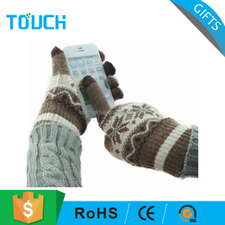 Customized jacquard style wool knitted touch sensitive gloves