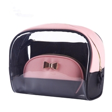 Wholesale fashion waterproof travel clear pvc cosmetic bag set