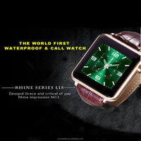 whole sale watch phone IP68 waterproof watch android smart watch IOS smart phone with brown leather