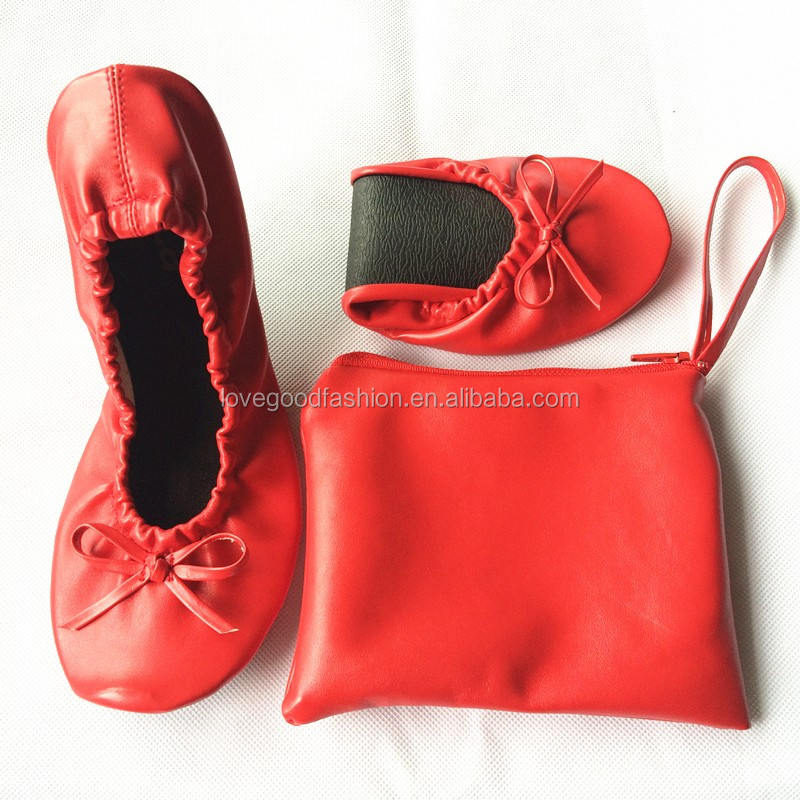 Red Rolling Up Ballet Flats Pocket Shoes