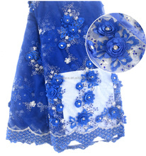 High quality royal blue french lace with hand work stones flower net lace embroidery with applique