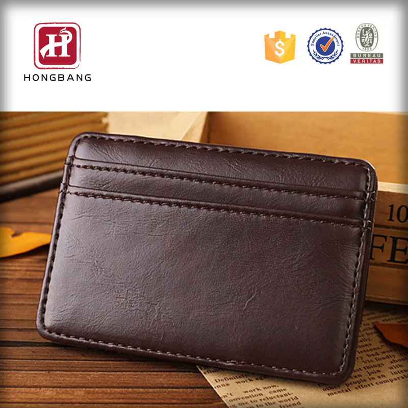 Brown Wholesale Simple Classic Elastic PU Magic Wallet