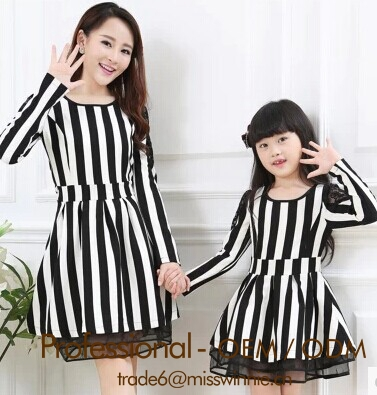 clothes for mother and daughter, mother daughter matching dress family set clothes for mother and children stripe long dress