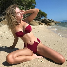 2018 New Style European Hot Selling Chest Knotted Sexy Women Bikini Swimsuit
