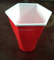 Red Hexagonal American Party Cups 16oz / 455ml