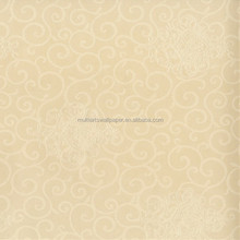 Luxury Beige Damask Embossed Shining Sand PVC Wallpaper manufacture foshan guangdong province