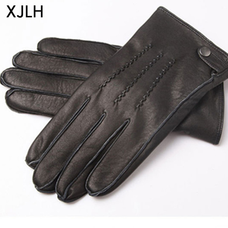 Top quality outside sewing soft leather mens deerskin gloves with belt
