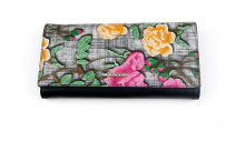 Latest design ladies purse flower pattern leather long wallet with photo pocket