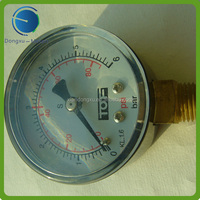 Gaseous and liquid media black case pressure gauge