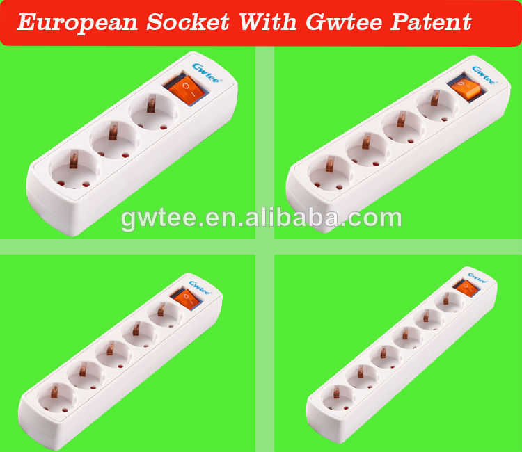 6 way VDE Standard electrical power strip socket switch