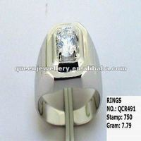 QCR491 New Arrival One Big Cz Stone 925 Sterling Silver Ring