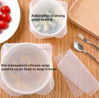 Soft Flexible silicone food wrap stretch Cling Film silicone lid