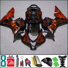 2007 2008 CBR600RR F5 black + red orange flames INJ Fairings Injection MOLD Body Kit Fairing For honda CBR 600 RR