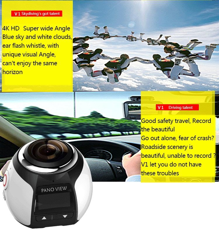 360 Degree Mini Sports 3D VR camera 360 panoramic waterproof 40m wifi 4k action camera camcorder 16MP DV Player