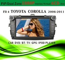 car dvd gps windows ce 6.0 fit for Toyota corolla 2011 2012 with radio bluetooth gps tv pip dual zone