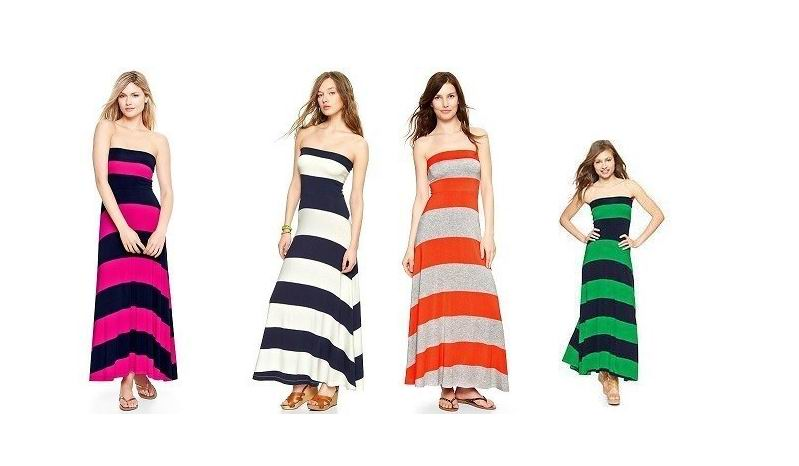OEM High Quality Women's Striped Strapless Pink Navy Creme Maxi Long Dress
