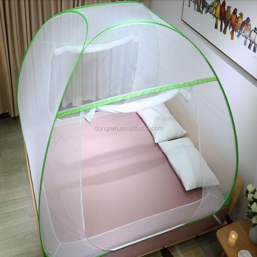 LLIN Double bed folding foldable mosquito net single door auto stand pop -up mosquito net from manufacture