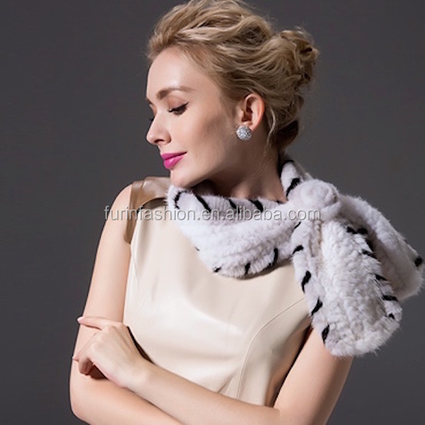 New Style Knitted Mink Fur Scarf for Young lady