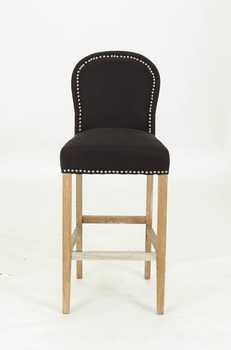 Black fabric bar stool with ring back