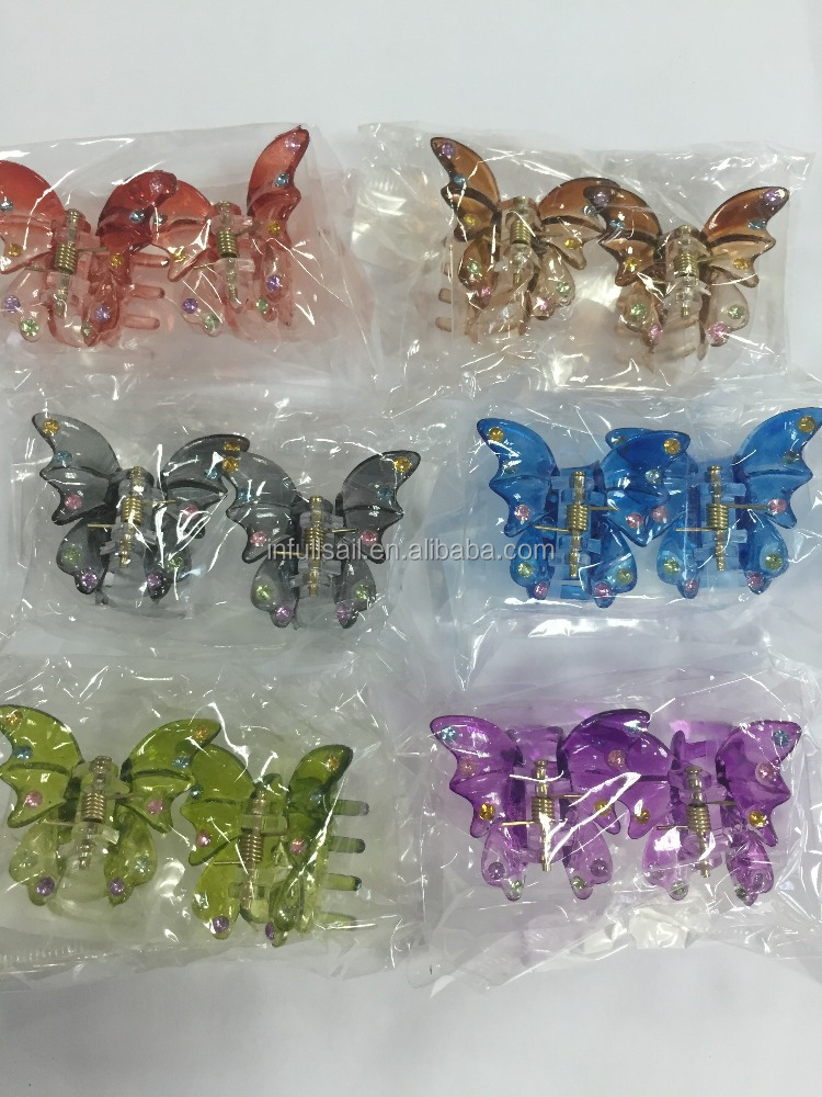Women Hair Accessories Plastic Colorful Butterfly Hair Clip Wholesale Hot selling