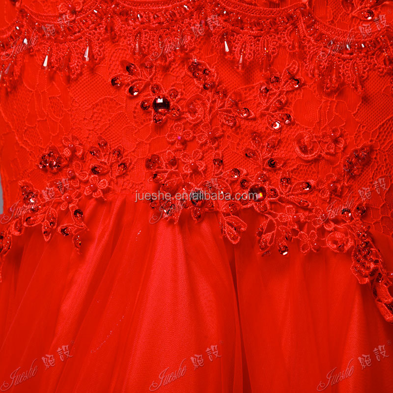 Real Off The Shoulder Lace Appliqued Fishtail Red Sexy Evening Dress Formal