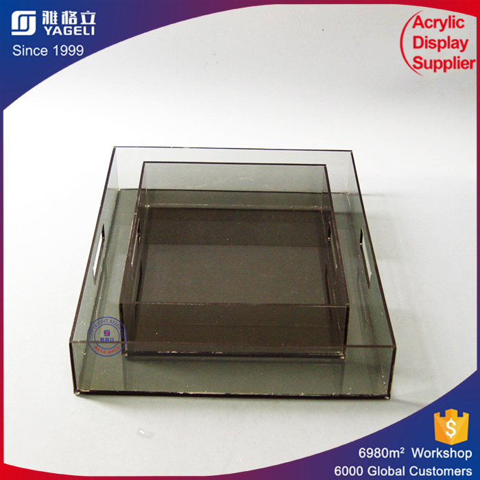 Custom colorful acrylic cosmetic holder makeup display tray high clear bar tray factory price