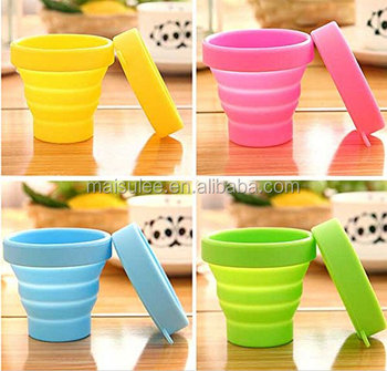 Free 8ozL Custom Logo Silicone Outdoor Travel Collapsible Folding Cup With Lid And Handle
