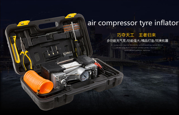 High quality cheap portable 2 cylinder 12v mini air compressor car tyre inflator