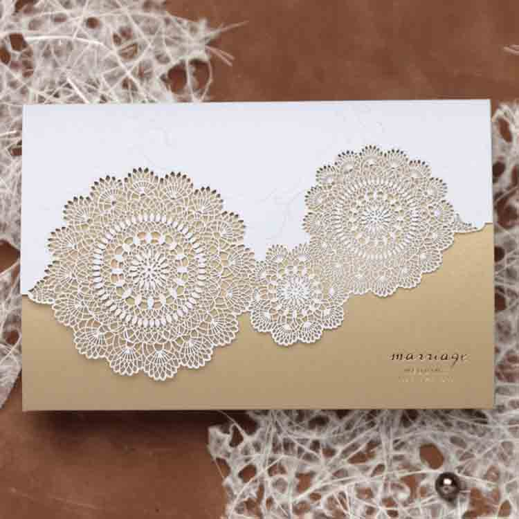 2017 luxury laser card wedding invitations with Emboss