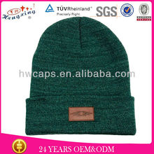 Knit hat green football luxury slouch printed is ok long custom knitted cuff leather patch beanies manufacturer