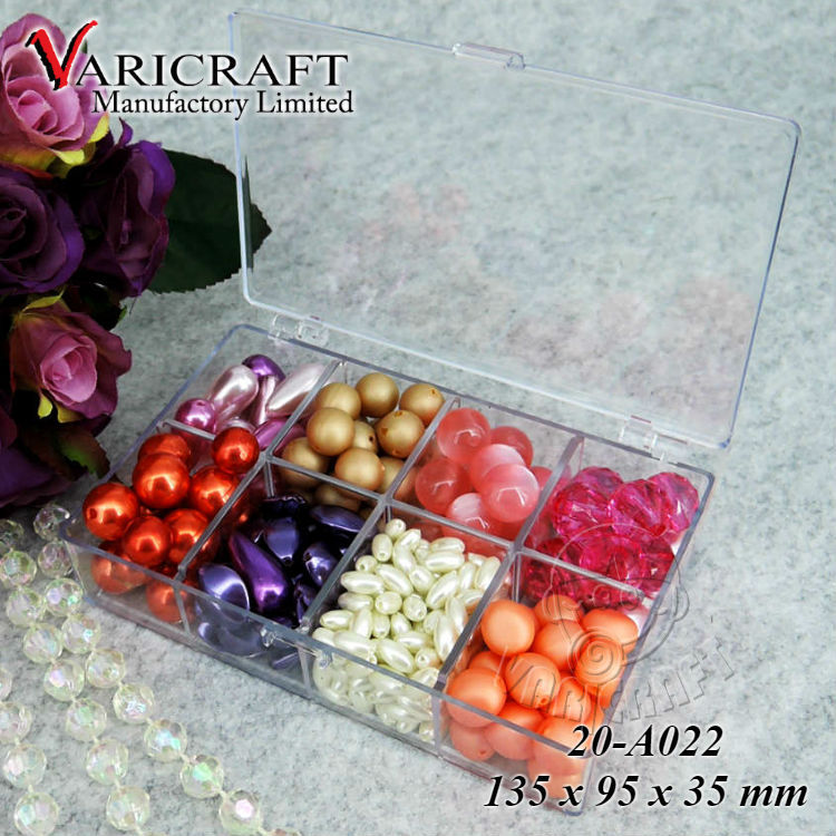 Plastic bead storage organizer with 8 compartment and hinged lid storage container