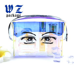 Custom design holographic PVC bag Laser pvc zip pouch