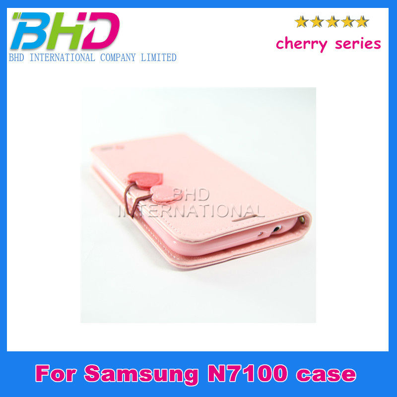 Elegant cherry series for SAMSUNG Galaxy Note 2 case flip wallet purse cover for n7100