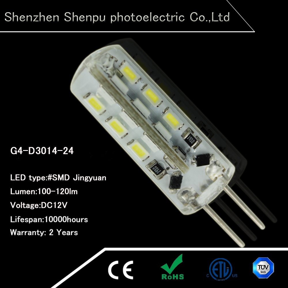 G4 LED Light Bulbs 24pcs SMD3014 1.5w/3W LED G4 Lamp low voltage 12V G4 LED