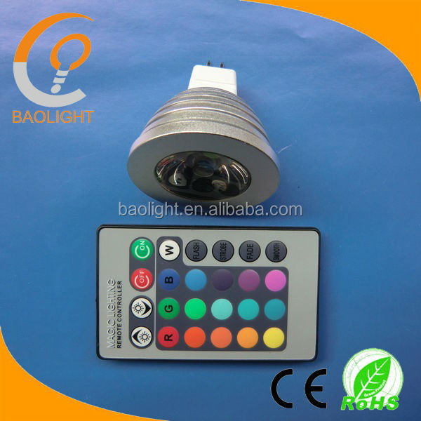 IR control 16 colors E14 B22 MR16 GU10 E27 led RGB spotlight 3W 4W 5W
