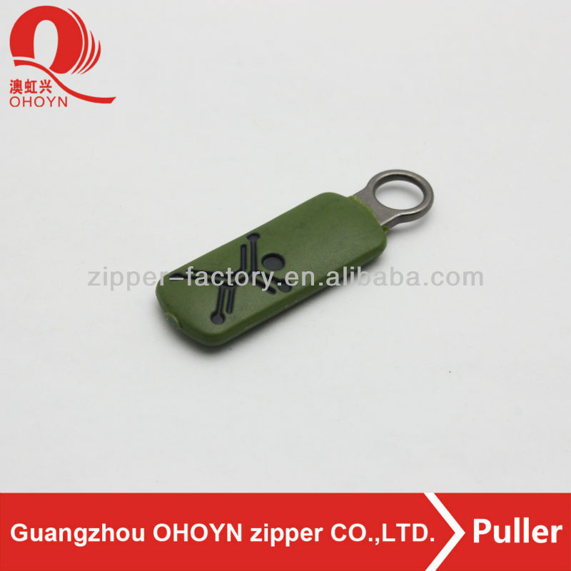 custom design color plastic zipper puller ,green color plastic zips pulls engrave black color logo puller with wholesale price